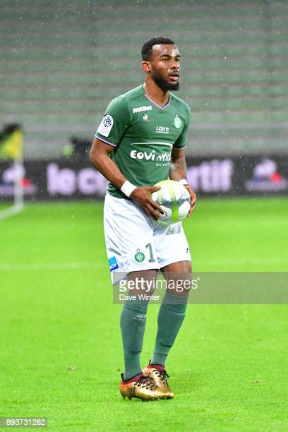 Habib Maiga of St Etienne during the Ligue 1 match between AS SaintEtienne and AS Monaco at Stade GeoffroyGuichard on December 15 2017 in...