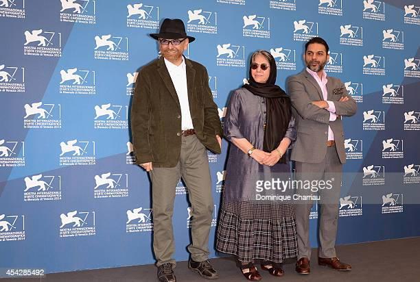 Habib Rezaei,Rakhshan Bani-Etemad and Peyman Moaadi attend the 'Tales' Photocall during the 71st Venice Film Festival at Palazzo Del Casino on August...