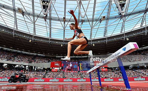 Habiba Ghribi of Tunisia competes in the Women's 3000m Steeplechase during Day Two of the Muller Anniversary Games at The Stadium Queen Elizabeth...