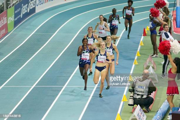 Habitam Alemu, Keely Hodgkinson, Jemma Reekie compete during women's 800m during the World Athletics Indoor Tour at Arena Stade Couvert on February...