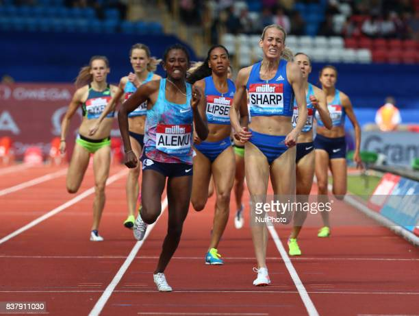 LR Habitam ALEMU of Ethiopia and Lynsey SHARP of Great Britain competes in the 800m Women during Muller Grand Prix Birmingham as part of the IAAF...