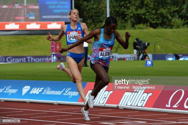 Habitam Alemu of Ethiopia wins the Women's 800m from Lynsey Sharp of Great Britain during the Muller Grand Prix and IAAF Diamond League event at...