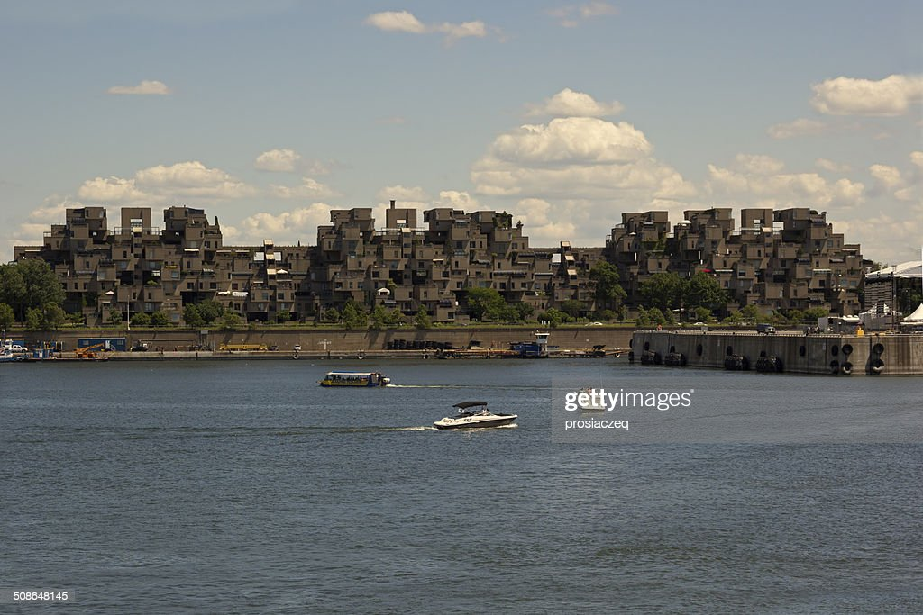 Habitat 67 by Saint Lawrence River in Montreal : Stock Photo
