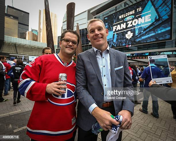 Habs fan Corey Michaud from Calgary and his friend under cover Habs fan Sean Matiowskyin Maple leaf Square before the season opener between the...