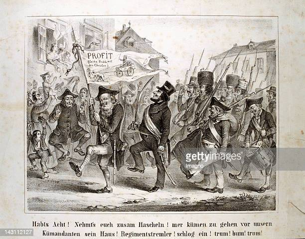 Habts Acht Nehmts euch zusam Hascheln antiSemitic leaflet about the Jewish national guard during the revolution in Vienna Lithograph 1848