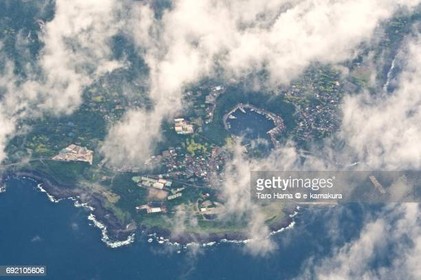 Habu harbor in Oshima island in Tokyo daytime aerial view from airplane