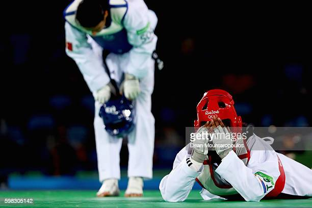 Haby Niare of France celebrates victory against Nur Tatar of Turkey after they compete in their Women's 67kg Taekwondo semifinal bout on Day 14 of...