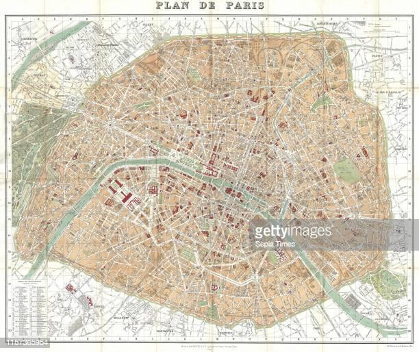 1892 Hachette Plan or Pocket Map of Paris France