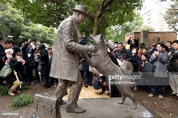 'Hachi' or 'Chuken HachiKo ' and owner Dr Hidesaburo Ueno reunited statue is unveiled on the day of the 80th anniversary of the dog's death at...