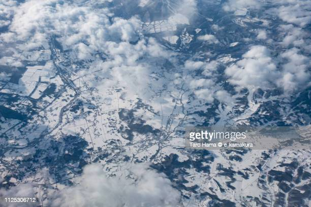 hachimantai city in iwate prefecture in japan daytime aerial view from airplane - 八幡平市 ストックフォトと画像