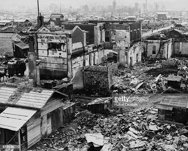 Hachioji, Japan in ruins after Allied B-29 air raids on August 1, 1945.