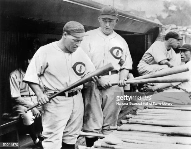Hack Wilson and Rogers Hornsby inspect bats in the dugout Lewis Robert Wilson played for the Chicago Cubs from 19261931 and Hornsby from 19291932