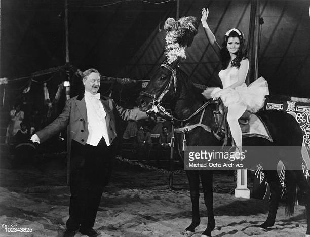 Hackenschmidt and Marie Hackenschmidt with the black stallion in a scene from the movie Black Beauty which was released in 1971