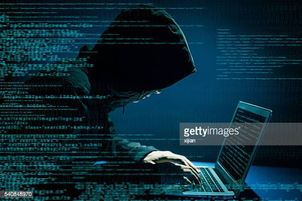 hacker attacking internet - thief stock pictures, royalty-free photos & images