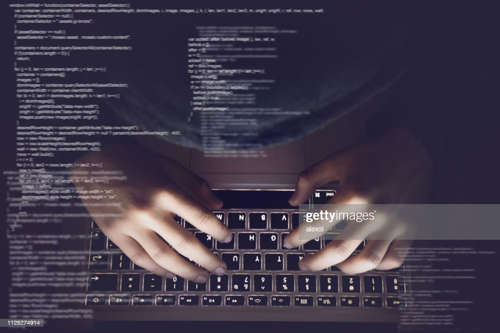 Hacker internet computer crime cyber attack network security programming code password protection : Stock Photo