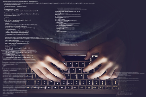 Hacker internet computer crime cyber attack network security programming code password protection 1125274914