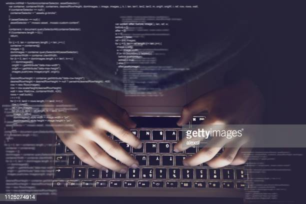 hacker internet computer crime cyber attack network security programming code password protection - sicurezza foto e immagini stock