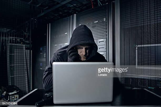Hacker operating in server rooms