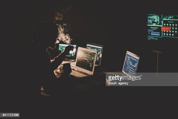 Hacker working all night alone