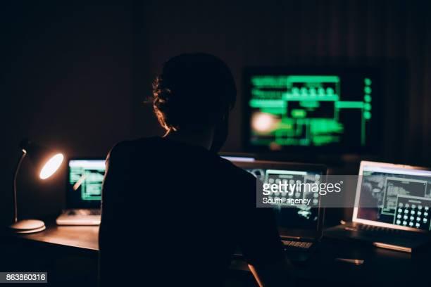 Hacker working alone in office