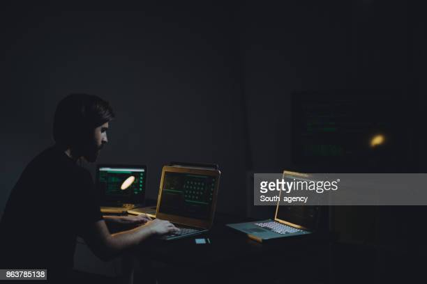 Hacker working at nigh