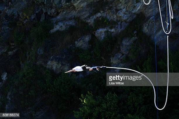 AJ Hackett Bungy jumping from 100 year old Kawarau suspension bridge South Island Queenstown New Zealand January 17 2011 Photo by Lisa Wiltse