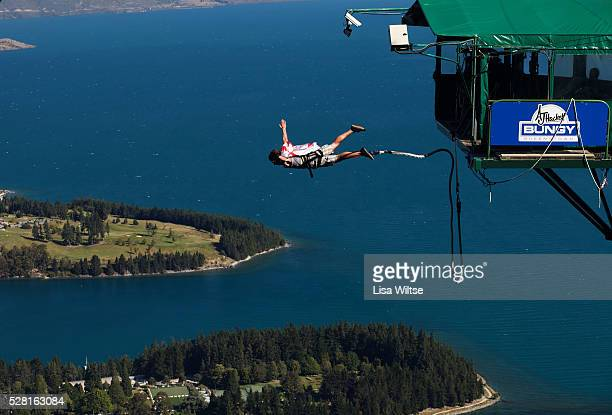 AJ Hackett Bungy jumping from Ledge Bungy at the top of the Skyline Queenstown South IslandNew Zealand January 14 2011 Photo by Lisa Wiltse