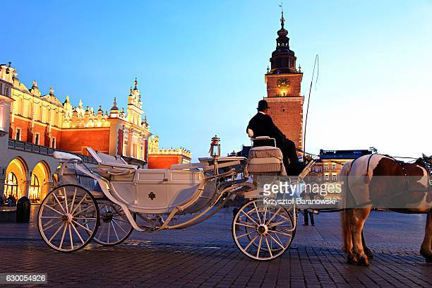 a hackney cab in krakow - krakow stock pictures, royalty-free photos & images
