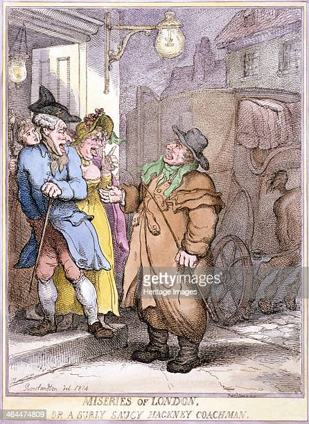 A hackney coachman holding a coin in his hand disputes the fare with two passengers in a doorway London 1814