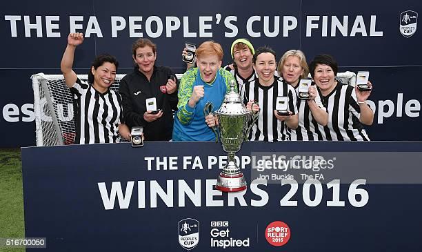 Hackney Jurassic's celebrate winning the Female Vets Final against Football Unites, Rascism Divides at Goals Sheffield on March 20, 2016 in Burton,...