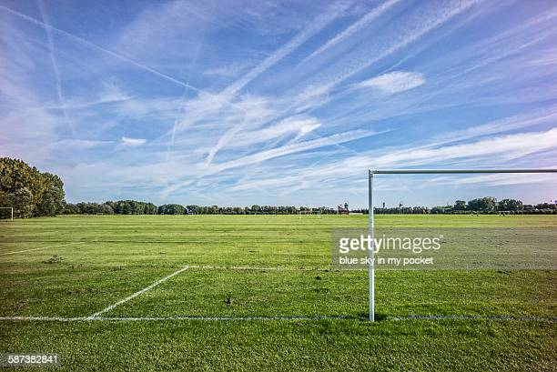 hackney marshes - football bulge stock photos and pictures