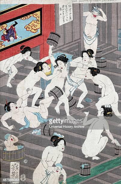 Hada kurabe hana no shobuyu kurabe koshi yuki no ya Translation Naked bodies compared to irises in hot water comparing hips to a snow laden willow in...