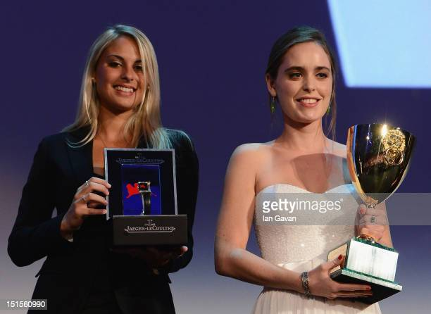 Hadas Yaron wins the Coppa Volpi award for best actress for 'Lemale Et Ha'Chalal' before receiving a JaegerLeCoultre watch during the Award Ceremony...