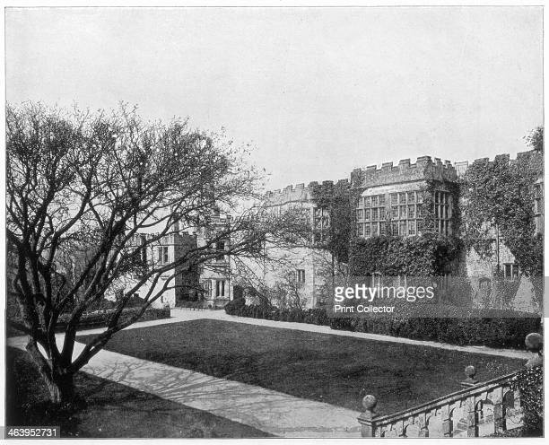 Haddon Hall near Bakewell, Derbyshire, England, late 19th century. Construction of Haddon Hall began in medieval times. Since 1567, when Dorothy,...
