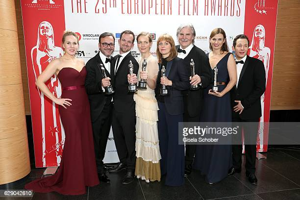 Hadewych Minis, Michael Merkt, Jonas Dornbarch, Sandra Hueller, Maren Ade, Peter Simonischek, Janine Jackowski and Trystan Puetter with award, Cast...