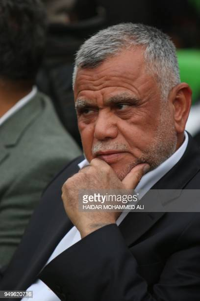 Hadi alAmeri head of the Badr organisation and leader of the mostly Shiite Hashed alShaabi paramilitary units attends a campaign gathering in the...