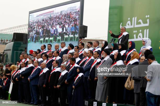 Hadi alAmeri head of the Badr organisation and leader of the mostly Shiite Hashed alShaabi paramilitary units speaks during a campaign gathering in...