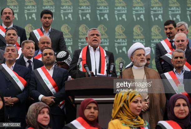 Hadi alAmiri head of the Iranianbacked Badr Organization and leader of the Fateh Alliance a coalition of Iraniansupported militia groups speaks...