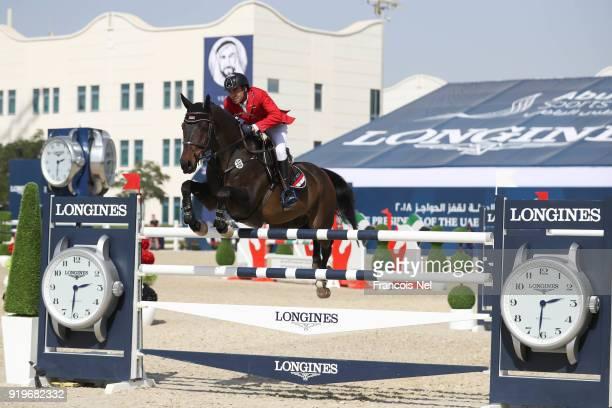 Hadi Nizam of Syria rides Quacksy during The President of the UAE Show Jumping Cup at Al Forsan on February 17 2018 in Abu Dhabi United Arab Emirates