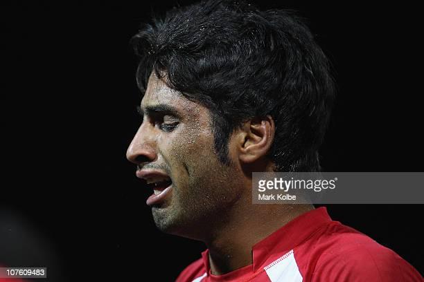 Hadi Oshtorak of Iran cries after losing the mens semi final match between India and Iran during Beach Kabaddi event at North Al Hail during day...