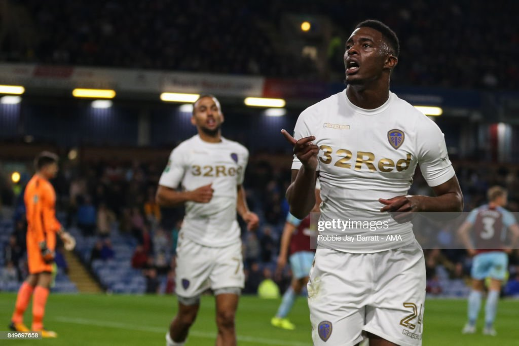 Hadi Sacko of Leeds United celebrates after scoring a goal to make it 0-1 during the Carabao Cup Third Round match between Burnley and Leeds United at Turf Moor on September 19, 2017 in Burnley, England.