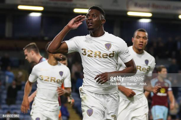 Hadi Sacko of Leeds United celebrates after scoring a goal to make it 01 during the Carabao Cup Third Round match between Burnley and Leeds United at...