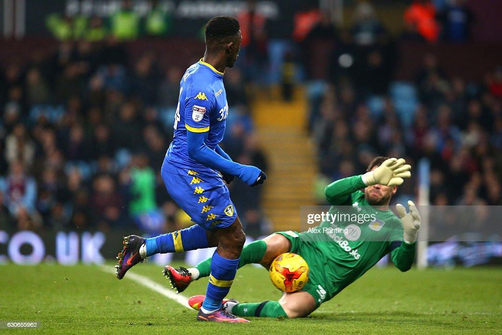 Hadi Sacko of Leeds United has his shot saved by Mark Bunn of Aston Villa during the Sky Bet Championship match between Aston Villa and Leeds United at Villa Park on December 29, 2016 in Birmingham, England.