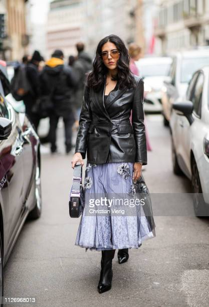 Hadia Ghaleb attends the Ermanno Scervino show at Milan Fashion Week Autumn/Winter 2019/20 on February 23 2019 in Milan Italy
