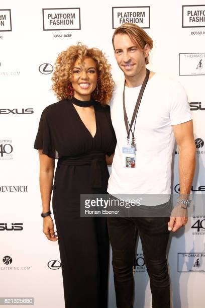 Hadiya Hohmann and Adrian Guse attend the Thomas Rath show during Platform Fashion July 2017 at Areal Boehler on July 23 2017 in Duesseldorf Germany