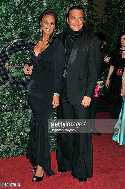 Hadiya Hohmann and Nick Chavez attend the QVC Red Carpet Style Party held at Four Seasons Hotel Los Angeles at Beverly Hills on February 22 2013 in...