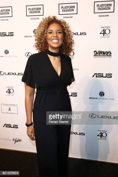 Hadiya Hohmann attends the Thomas Rath show during Platform Fashion July 2017 at Areal Boehler on July 23 2017 in Duesseldorf Germany