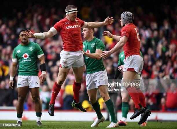 Hadleigh Parkes of Wales celebrates after scoring his team's first try during the Guinness Six Nations match between Wales and Ireland at...
