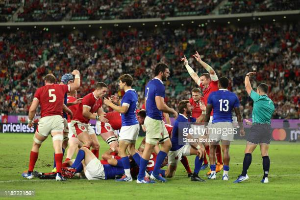Hadleigh Parkes of Wales celebrates as Ross Moriarty of Wales scores his sides second try during the Rugby World Cup 2019 Quarter Final match between...