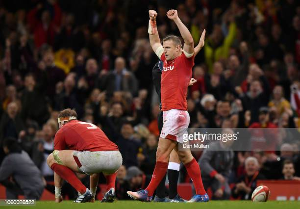 Hadleigh Parkes of Wales celebrates on the final whistle during the International Friendly match between Wales and Australia at Principality Stadium...